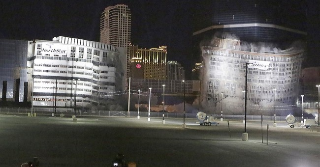 Last Riviera casino tumbles down after Vegas Strip implosion