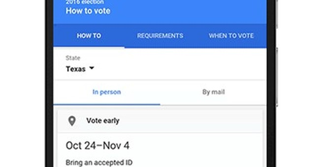 Google's search engine directs voters to the ballot box