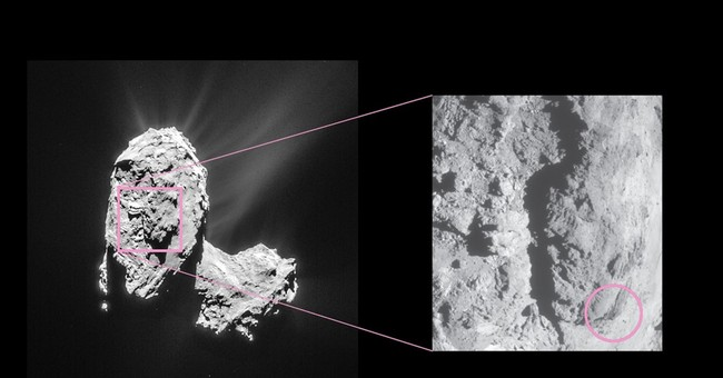 Rosetta space probe sees bright flares, landslide on comet
