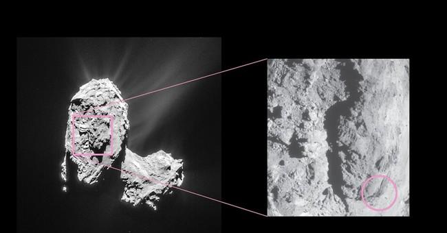 Rosetta space probe sees bright flares, landslide on comet