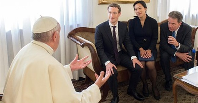 Pope Francis chats in person with Facebook CEO Zuckerberg