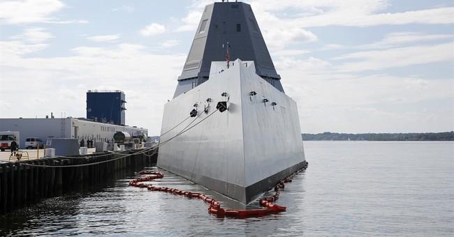 Stealthy, futuristic Zumwalt destroyer leaves Rhode Island