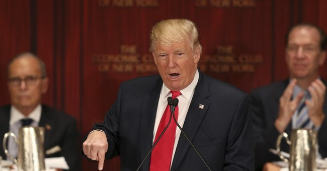 The Latest: Trump jokes about taking a pay cut if president