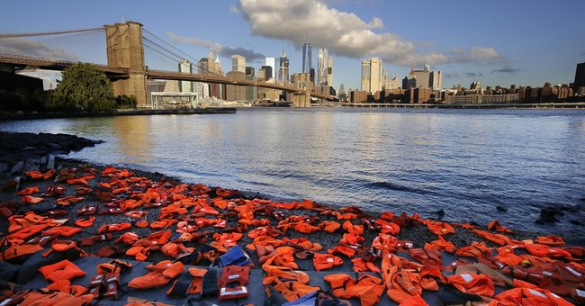 Life jackets placed at NY waterfront reflect refugee crisis