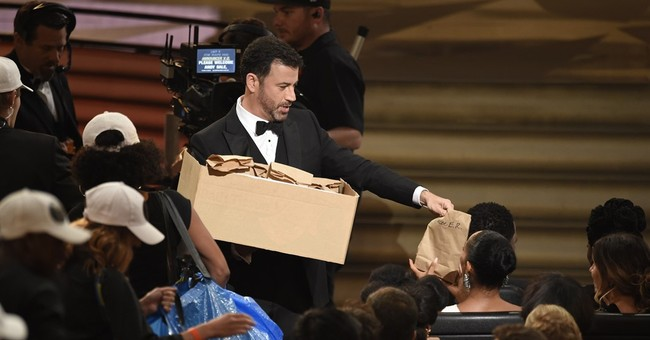 Jimmy Kimmel feeds PB&J sandwiches to Emmy Awards audience