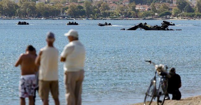 Greek military helicopter crash lands in sea during training