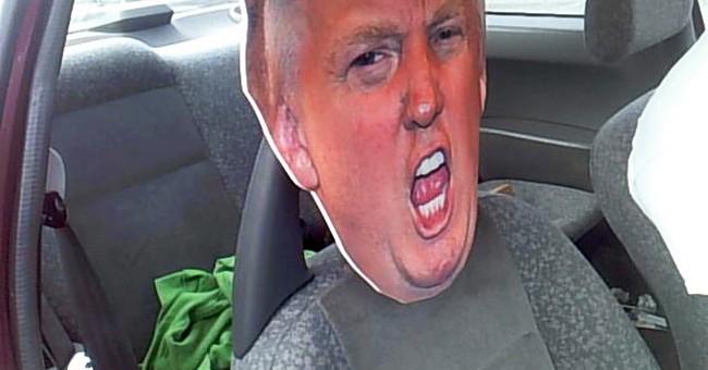 Driver uses cardboard Trump head in carpool lane