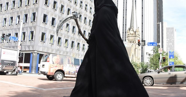 'Grim Reaper' spreading message of no texting and walking