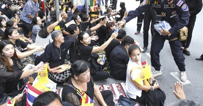 Thai king's body at Grand Palace for people to pay respects