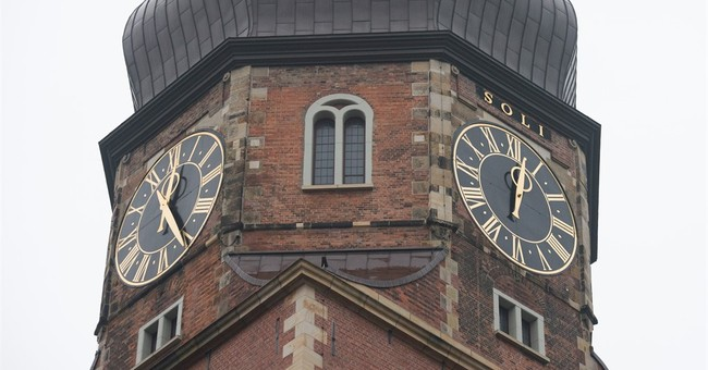 Minute hand plunges from Hamburg church tower; no one hurt