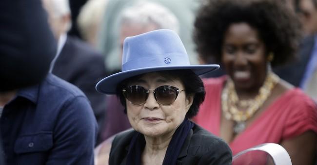 Yoko Ono unveils lotus-petal sculpture in Chicago park