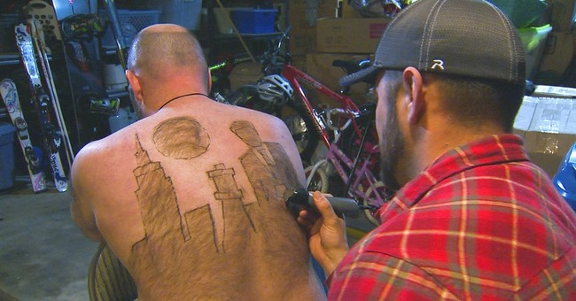 Idaho man finds art in back hair