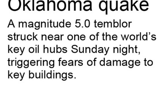 Earthquake rocks central Oklahoma oil town