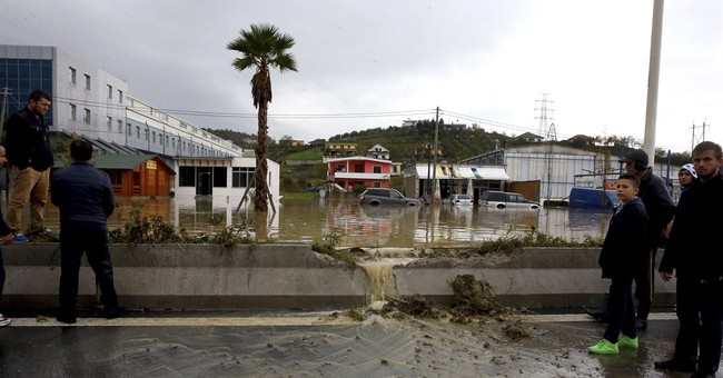 Heavy rain floods Albania and blocks roads