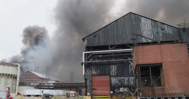 5 days later, firefighters dousing hotspots at old mill