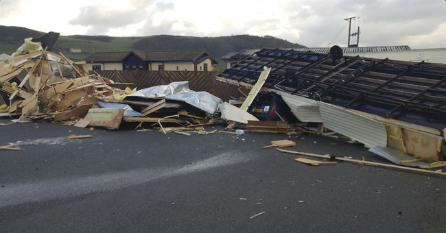 Freak winds in Wales wreck cars, flip caravans; no injuries