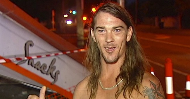 Aussie clad only in underpants leads police to crash suspect