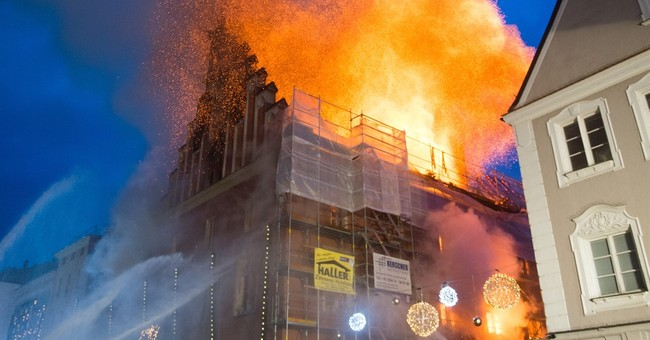 Huge fire engulfs 600-year-old town hall in Bavaria
