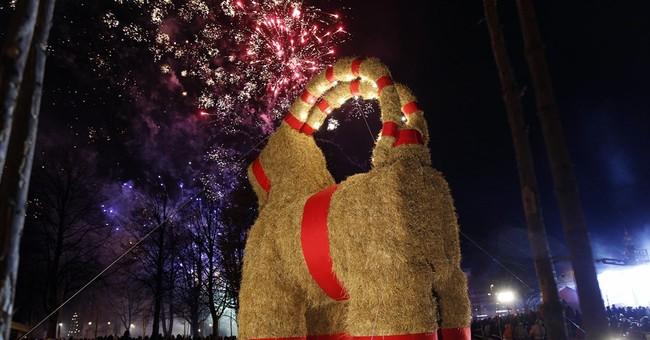 Swedish Christmas goat burns on 50th anniversary