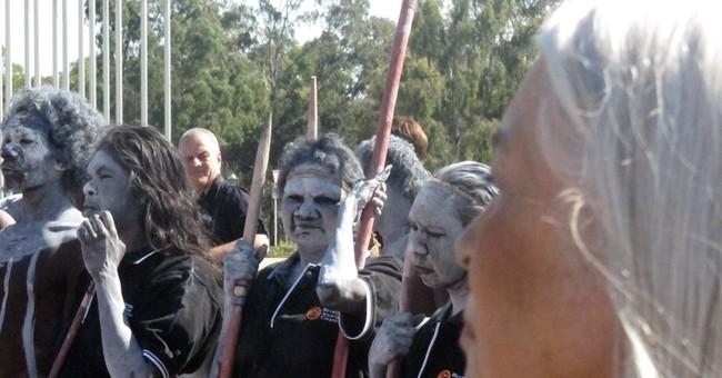 Aborigines outside Australia's Parliament protest violence