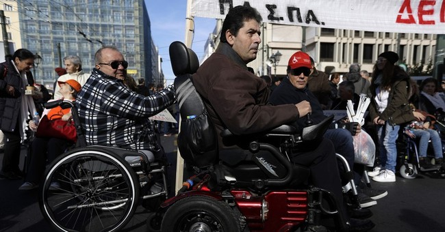 Disabled Greeks protest as more austerity looms