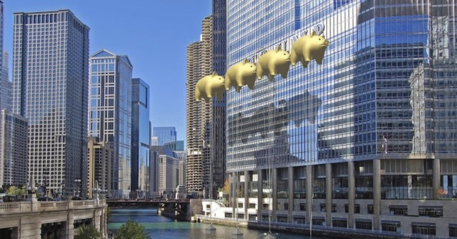 Architect's plan would cover Trump's name with pig balloons
