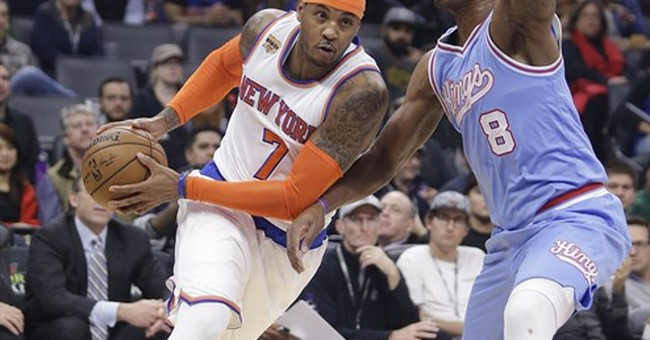 Anthony scores 33 to help Knicks hold off Kings 103-100