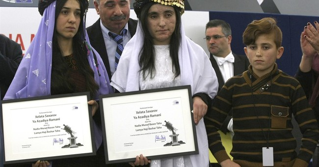 2 Yazidi women accept EU's Sakharov Prize for human rights