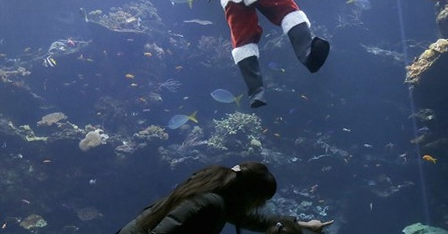 Scuba Santa feeds the fish this holiday season in California