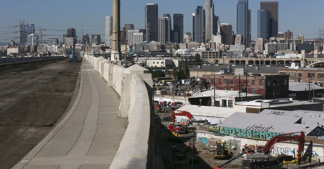 The Latest: Drivers beware: Famous LA bridge coming down