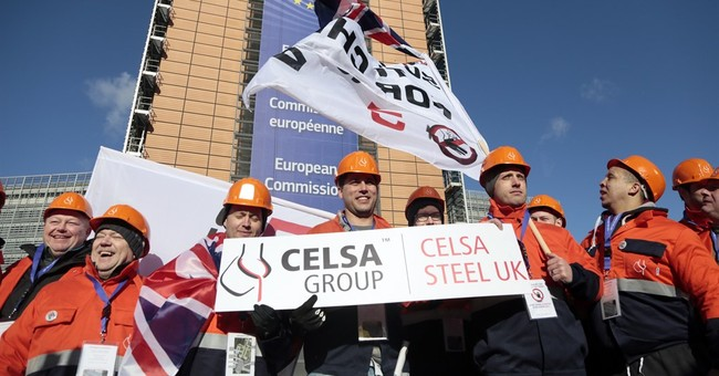 EU steel workers protest against cheap Chinese imports