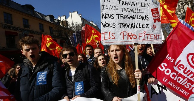 Youths protest labor reforms across France
