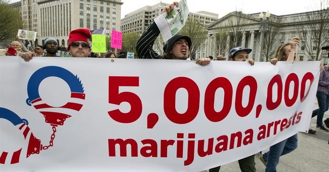 Pot activists smoke outside the White House