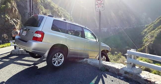 California driver survives cliff crash, gets struck by bus