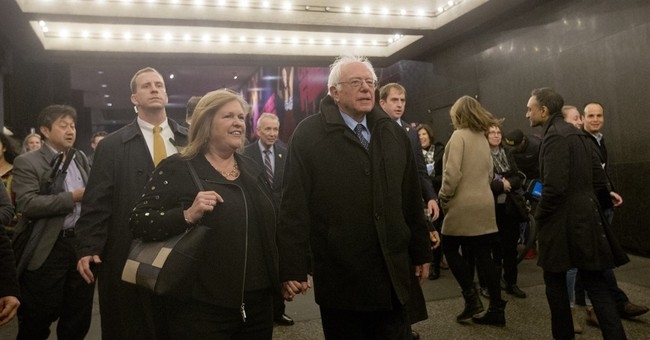 The Latest: Sanders takes in Broadway smash 'Hamilton'