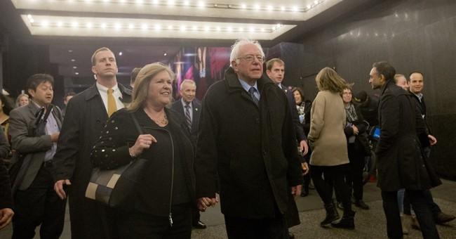 The Latest: Sanders takes in Broadway smash 'Hamilton'