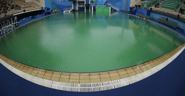 So, The Olympic Diving and Water Polo Pools Turned Green