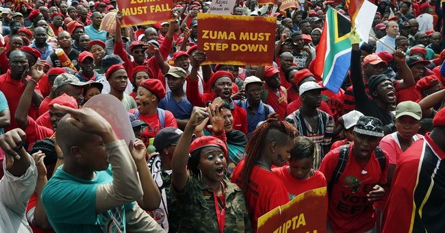 South African opposition protests Zuma, who celebrates 75th