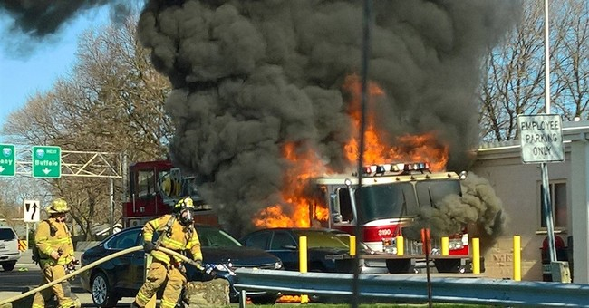Firetruck being driven to Canada catches fire at toll booth