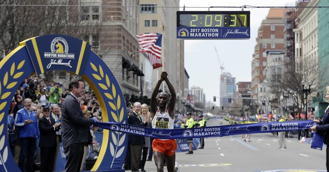 The Latest: Kenyans have a banner day at the Boston Marathon