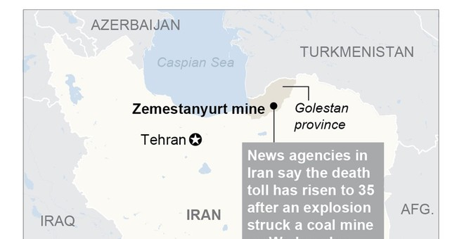 Reports: At least 35 killed in Iran coal mine explosion