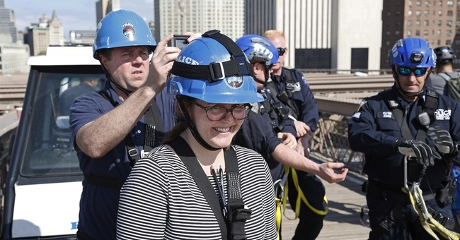 'I signed up for this?' Reporter scales Brooklyn Bridge
