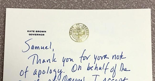 Oregon governor forgives boy for swiping hazelnut, pen