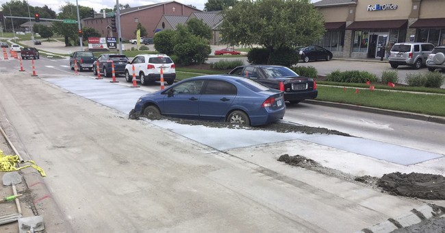 $10,000 bill for getting car stuck in newly poured concrete