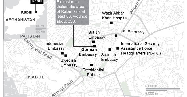 The Latest: Kabul mayor says bomb caused damage 4 km away
