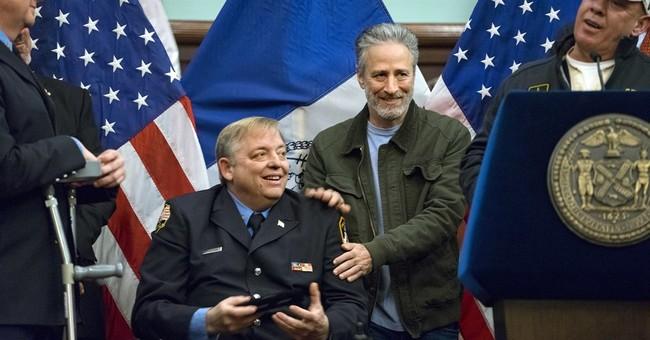 Jon Stewart fights back tears remembering late firefighter