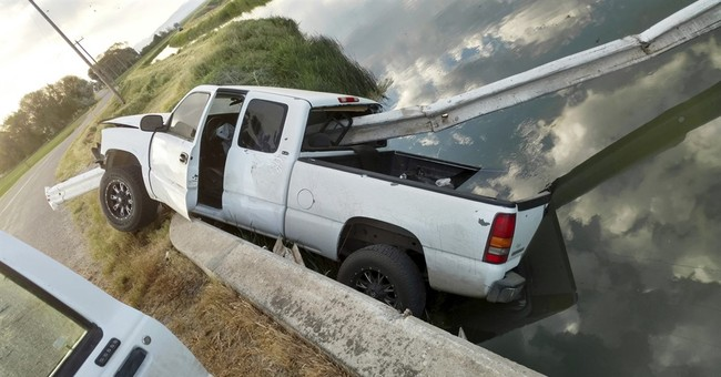 Stolen pickup found impaled on 30 feet of steel guardrail
