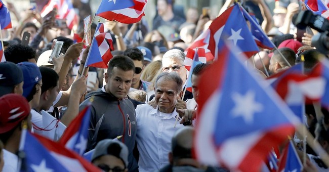 The Latest: Lopez Rivera joins Puerto Rican Day Parade float