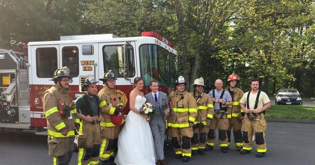 We do! Newlyweds accept fire truck ride after bus blaze