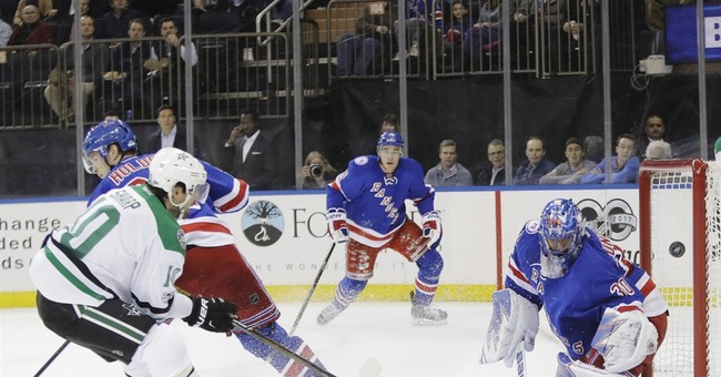 Sharp scores twice, Stars hold on for 7-6 win over Rangers